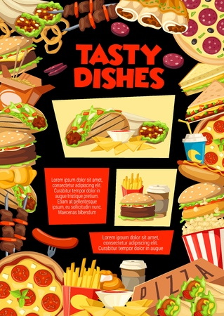 Fast food combo lunch menu of burgers, snacks or drinks and desserts. Vector fastfood delivery or takeaway pizza or hot dog sandwich and grill chicken with coffee and donut