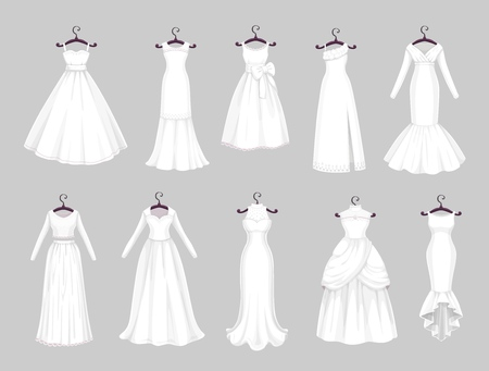 Wedding dress on hangers isolated icons set. Vector Save the Date greeting, engagement and marriage party invitation or bride tailor salon symbols of white wedding dress with veils and laces Illustration