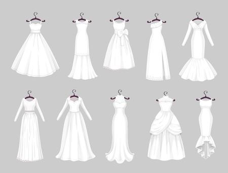 Suknia ślubna na wieszakach na białym tle zestaw ikon. Wektor zapisać datę pozdrowienie, zaręczyny i małżeństwo party zaproszenie lub panna młoda krawiec symbole salon biała suknia ślubna z welonami i koronkami
