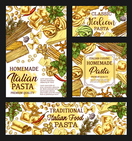 Pasta cooking poster, Italian cuisine restaurant menu and product package sketch. Vector homemade traditional Italian pasta fusilli, fettuccine or linguine and penne, pappardelle or lasagna Ilustração