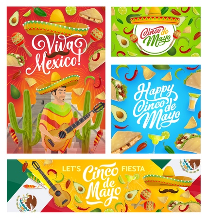 Cinco de Mayo Mexican holiday greetings, man in sombrero and poncho play guitar. Vector Mexican Cinco de Mayo fiesta maracas, mustaches and tequila with avocado, chili jalapeno pepper and tacos