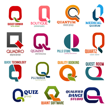 Corporate identity letter Q business icons. Vector recreation and fashion, finance, medicine and transport, advertising and pharmacy. Accessory and technology, plumbing and booking, entertainment