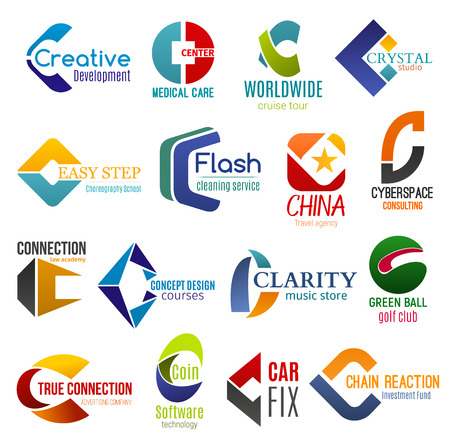 Corporate identity letter C business icons. Vector development and medicine, travel, education and cleaning, consulting. Law and design, music, sport and adertising, technology, transport and finance