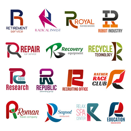 Corporate identity letter R business icons. Vector retirement, finance and technology, repair, equipment and ecology, science. Advertising and hiring, transport and travel, food and recreation Illustration
