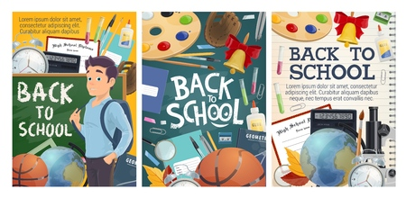 Back to School posters for September education season in college and university. Vector design of school stationery and lesson books, student with backpack, sport training ball or calculator and globe