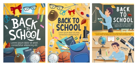 Back to School posters of study stationery and student at classroom. Vector education season design of school bag with alarm clock, geometry or algebra and chemistry or astronomy lesson book Illustration