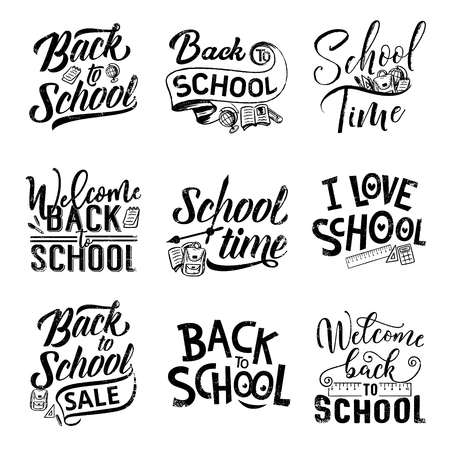 Back to school hand drawn lettering for sale offer promotion and welcoming banner design. Education student supplies of pencil, book and backpack, pen, ruler and globe with calligraphy quotes Vectores