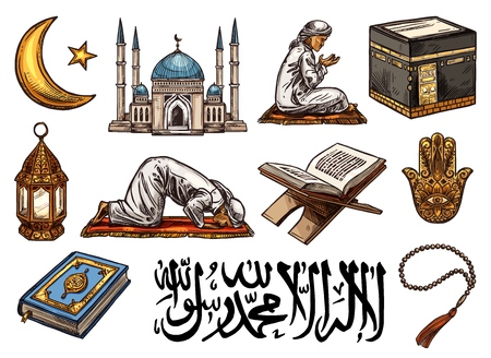 Islam religion sketch icons of holy symbols. Crescent moon, star and Ramadan lantern, mosque, Holy Quran and arabic calligraphy, Mecca Kaaba mosque and beads, prayer or salah and hamsa hand vector Illusztráció