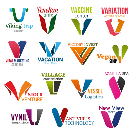 Corporate identity letter V business icons. Vector travel and food, medicine and advertising, marketing and sport, finance and construction. Logistic and recreation, music and technology, shopping