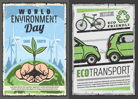 World environment or Eco day retro vector. Environmental issues awareness, save the Earth concept. Eco transport and renewable energy sources, recycling garbage and wind mills, eco friendly planet Illustration