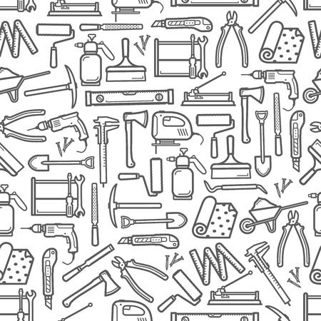 Bau DIY Werkzeuge nahtlose Muster. Vektordünne Linie Werkzeugsymbole Hintergrund von Handwerker Zimmermannshammer, Holzbearbeitungsschleifer oder Malpinsel und Bohrer mit Säge und Tapeten