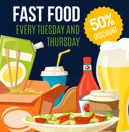 Fast food restaurant snacks and drinks discount offer. Vector pizza, coffee and soda, fried chicken, chinese noodle and beer with ketchup and mayonnaise sauce special price promo flyer design