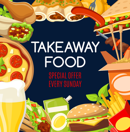 Fast-Food-Menü mit Snacks und Getränken zum Mitnehmen. Vector Fastfood-Restaurant oder Café-Burger, Pizza oder mexikanischer Burrito und asiatische Nudeln mit Hähnchengrillbeinen und Kebab