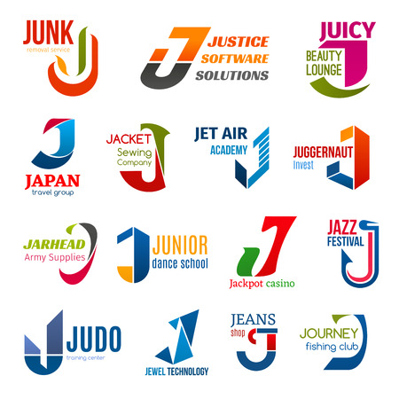 Corporate identity letter J business icons. Vector ecology, software and beauty, travel and sewing, education and finance, army and hobby. Gambling and music, sport and technology, fashion and fishing  イラスト・ベクター素材