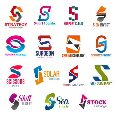 Corporate identity letter S business icons. Logistic and support, finance and Internet, medicine and sewing, technology and shopping, education and supply. Vector emblems, signs and symbols isolated 向量圖像