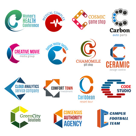 Letter C business corporate identity icons vector. Health and medicine, games and car service, media and factory, shopping and design, analytics and investment. Traveling and ecology, football agency