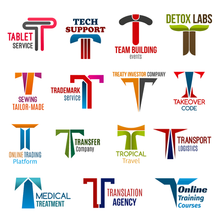 Corporate identity letter T business icons. Vector technology and support, building and nutrition, sewing and trade, finance and education, travel and transport, medicine and translation signs