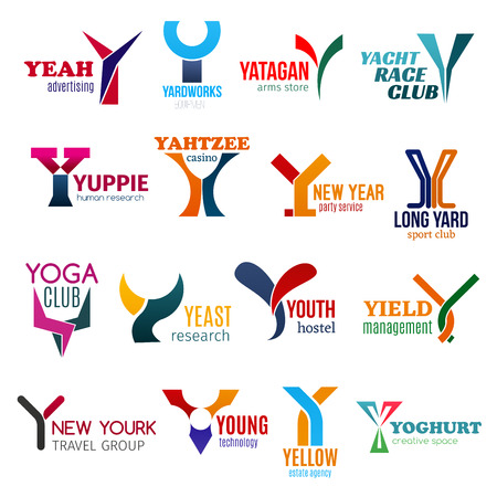 Corporate identity letter Y business icons. Vector advertising and agriculture, military and sailing, hiring and gambling. Entertainment, sport and science, recreation, management and travel signs Illustration