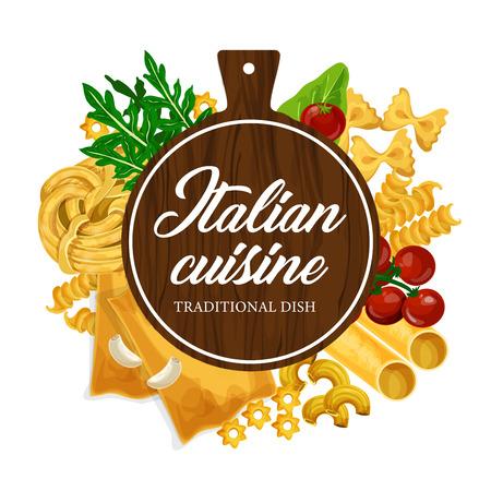 Cucina della pasta e cucina italiana fatta in casa. Menu del ristorante di pasta tradizionale fatta a mano di vettore di farfalle, fusilli o fettuccine e linguine, penne o conchiglie e tagliere di legno