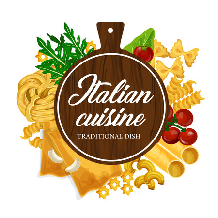 Pasta cooking and homemade Italian cuisine. Vector traditional handmade pasta restaurant menu of farfalle, fusilli or fettuccine and linguine, penne or conchiglie and wooden cutting board 일러스트