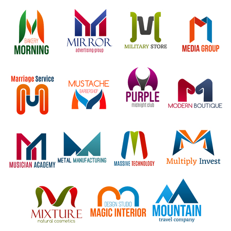 Corporate identity letter M business icons. Vector bakery and advertising, army and media, marriage and barbershop. Entertainment and fashion, music and manufacture, technology and finance, beauty Ilustração