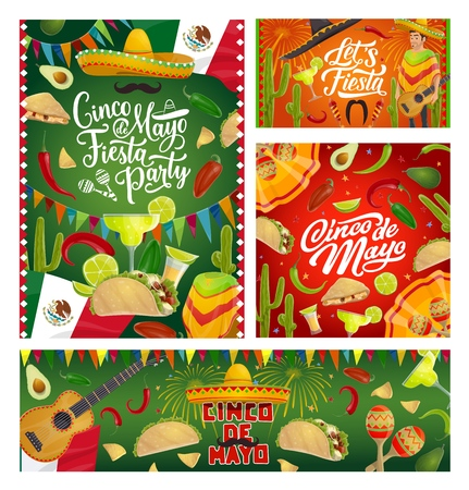 Cinco de Mayo fiesta party sombreros, guitars and maracas, Mexican holiday vector greeting cards. Tequila margarita, cactus and Mexico flag, chilli tacos, nachos and avocado, moustaches and fireworks