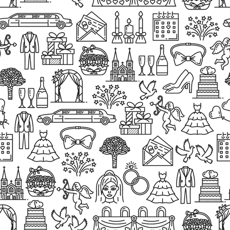 Wedding and marriage seamless pattern. Vector bride and groom couple, church and rings, limousine car and doves, cupid and engagement bouquet. Presents and dresses, champagne and banquet table