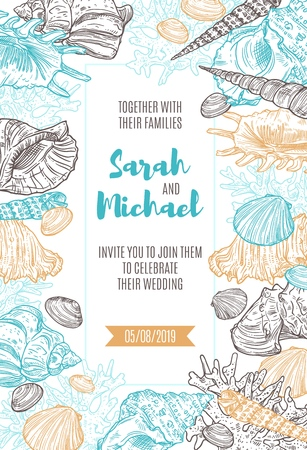 Wedding ceremony or engagement party invitation template with vector seashells, marine molluscs and corals frame border. Clam, chiton and snail, tusk, murex and conch, auger and cockle sea shells