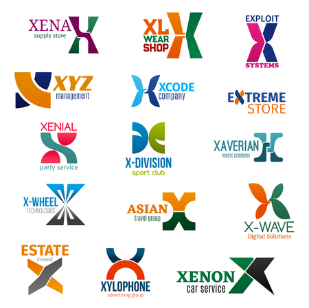 Corporate identity letter X business icons. Vector supply and fashion, technology and management, store and entertainment. Sport and medicine, travel and estate, advertising and transport isolated