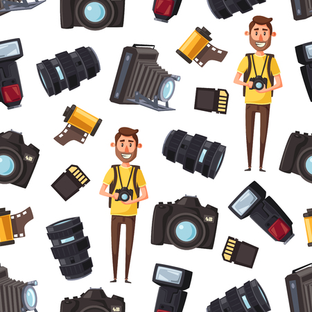 Photographer and professional photography equipment seamless pattern. Vector cartoon background of cameraman or journalist man with camera, optic lens or photo films and SD card storage Archivio Fotografico - 119444914