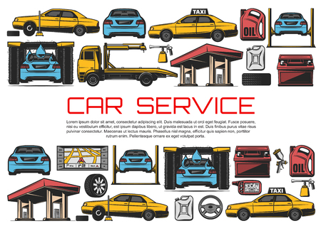 Car service and automobile diagnostic and restoration garage station. Vector evacuation tow truck, automotive wash or gasoline station and taxi service, engine oil replacement and tire fitting Stok Fotoğraf - 123676053