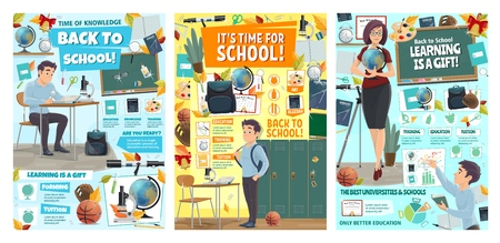 Back to School posters for education season and knowledge learn. Vector school student in classroom with lesson books and stationery and teacher woman with geography globe at blackboard