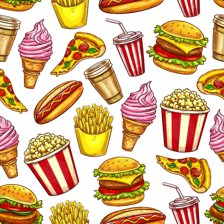 Fast food seamless pattern, vector meals and drinks. Pizza and ice cream, french fries and cheeseburger, hot dog and popcorn, soda and coffee. Takeaway dishes and beverages background