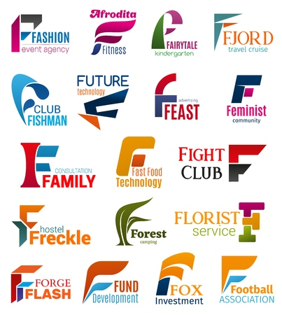 Corporate identity letter F business icons. Vector fashion and sport, education, travel and hobby, technology, advertising and community. Support and food, recreation, camping, floristry and finance