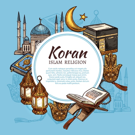 Islam religion symbols with muslim mosque and Koran islamic sacred book sketches. Ramadan holiday lantern, Kaaba masjid of Mecca and rosary beads, hamsa, moon and star. Religion vector theme Illusztráció