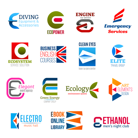 Corporate identity letter E business icons. Hobby and power, transport and aid, ecology, education and medicine, travel, entertainment and environment, art and music. Vector emblems and signs, symbols