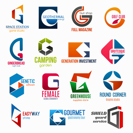 Corporate identity letter G business icons. Vector gaming and energy, weapon, sport and entertainment, travel, finance and fashion. Software and community, supply and shopping, gastronomy and safety