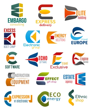 Corporate identity letter E business icons. Vector consulting and delivery, holding and travel, technology and energy, software and transport, building and shopping. Vector emblems, signs or symbols