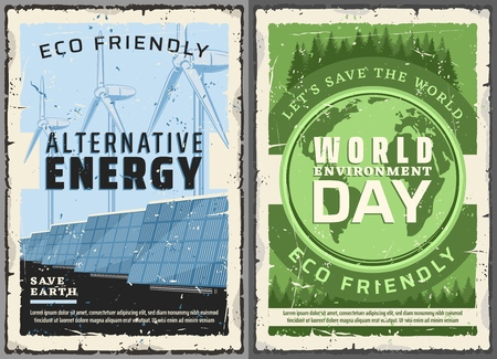 World environment day and alternative energy sources retro vector. Save energy, wind mills and solar batteries, eco friendly green Earth. World with forests, clean globe and environmental awareness