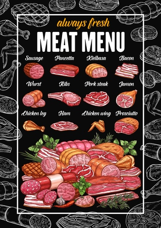 Butchery meat products and butcher shop sausages menu. Vector grocery store sketch pancetta, kielbasa or pork bacon and wurst, ham or chicken wing and leg, ribs, prosciutto and jamon with beef steak Illustration