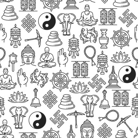 Buddhism seamless pattern of Zen meditation and religious line symbols.