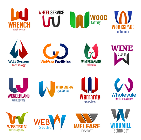 Identyfikacja wizualna litery W biznes ikony. Naprawa wektorów i transport, fabryka i przestrzeń robocza, technologia i wyposażenie, zakupy i napoje. Rozrywka i energia, gwarancja i dystrybucja
