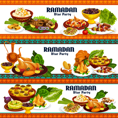 Iftar party food of Ramadan Kareem holiday. Coffee, dates and chicken biryani, kebab, baklava and samosa, hummus, chickpea balls and grilled fish, stuffed zucchini and cookies, vector design Stock Illustratie