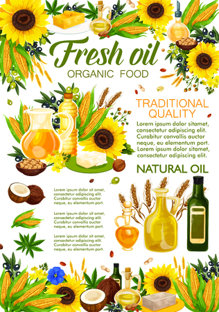 Natural cooking oils of sunflower, olive or vegetable plants and nuts. Vector extra virgin corn and coconut or linenseed oil bottle for salad dressing and food cooking ingredients