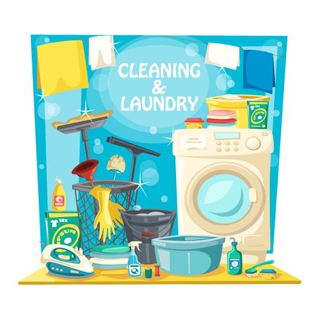 Home laundry washing, house cleaning and needlework service.