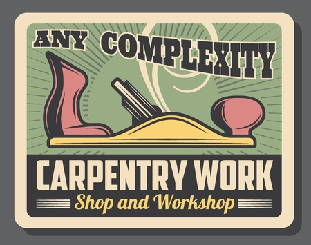 Construction and handy repair tools and equipment shop vintage old poster. Vector carpentry works and woodwork equipment workshop, carpenter grinder plane