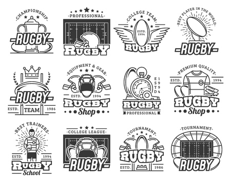 Rugby sport college team, school club badges, equipment shop and league cup tournament icons. Banque d'images - 121171894