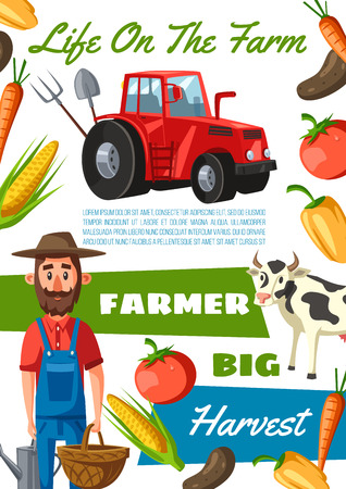 Farmer agronomist at cattle farm with fruits and vegetables harvest. Illustration