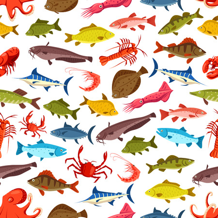Seafood and fish seamless cartoon pattern. Vector ocean and river fishes flounder, tuna or carp and sheatfish with squid, octopus and shrimp or prawn, lobster crab and trout pattern