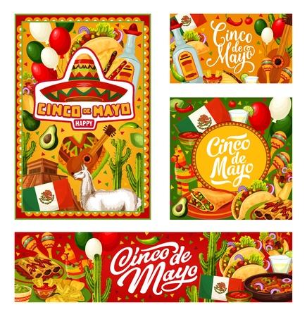Saludo de caligrafía de fiesta mexicana del Cinco de Mayo con decoraciones tradicionales. Ilustración de vector